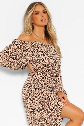 boohoo Leopard Print Off The Shoulder Midi Dress