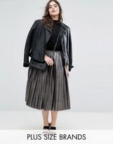 Elvi Metallic Pleated Skirt