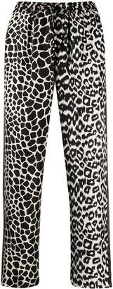 Pierre Louis Mascia High-Waist Animal-Pattern Trousers