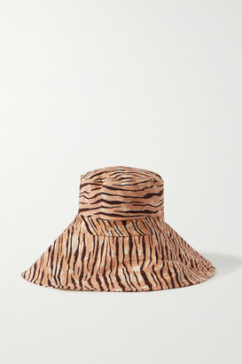 Faithfull The Brand Net Sustain Frederikke Tiger-print Linen Sunhat - Brown