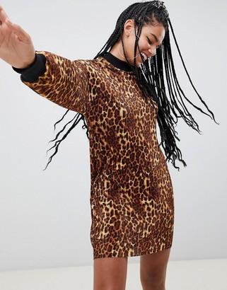 Asos DESIGN leopard print plisse sweat dress
