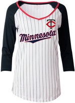 5th & Ocean Women's Minnesota Twins Pinstripe Glitter Raglan T-Shirt