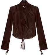 Twenty8Twelve Oxblood Claudia Crop Leather Jacket