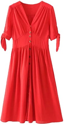 Goodnight Macaroon 'Hillary' V Neck Button Down Tie Sleeve Midi Dress (3 Colors)