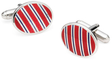Brooks Brothers Sterling and Vitreous Enamel Stripe Cuff Links
