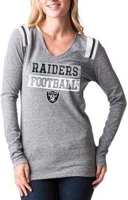 New Era Women's 5th & Ocean by Heathered Gray Oakland Raiders Block Letter Tri-Blend Long Sleeve V-Neck T-Shirt