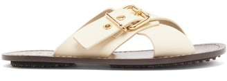 Marni Buckled Crossover Leather Slides - Womens - Cream