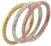 Sterling Silver Tri-Color Ring Trio - 7