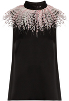 Christopher Kane Feather-embellished sleeveless satin top