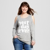 Miss Chievous Women's Plus Size Best Day Ever Cold Shoulder Top Gray