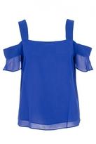 Quiz Royal Blue Chiffon Cold Shoulder Frill Sleeve Top