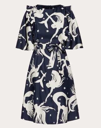Valentino Printed Twill Dress Women Navy Silk 100% 36