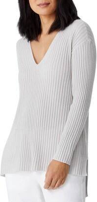 Eileen Fisher Rib V-Neck Cashmere Tunic