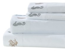 Seaside Resort Seahorse and Coral Embroidered Sheet Set, Queen Bedding
