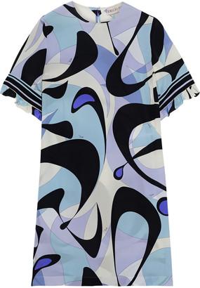 Emilio Pucci Ruffle-trimmed Printed Silk Crepe De Chine Mini Dress