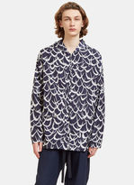 Marni Men's Flutter Oversized Hooded Jacket In Navy And White