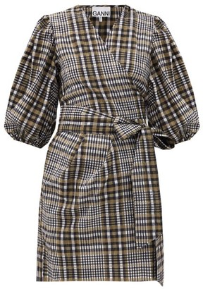 Ganni Puff-sleeved Checked Seersucker Wrap Dress - Grey Multi