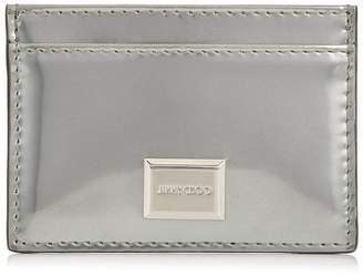 Jimmy Choo MADDIE Silver Glass Mirror Leather Card Holder