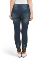 Juniors Lace Up Hem Curvy Ankle Skinny Jeans