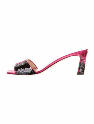 Prada Colorblock Pattern Sequin Embellishments Slides Pink
