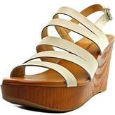 Lucky Brand Marinaa Women Open Toe Leather White Wedge Sandal.