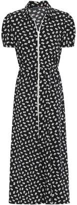 ALEXACHUNG Zip-detailed Floral-print Crepe Midi Dress
