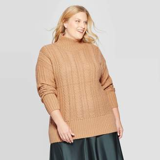 Ava & Viv Women's Plus Size Cable Turtleneck Sweater - Ava & VivTM
