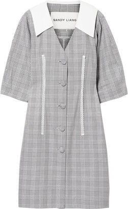 Sandy Liang Leo Lace-trimmed Plaid Cotton And Crepe De Chine Dress