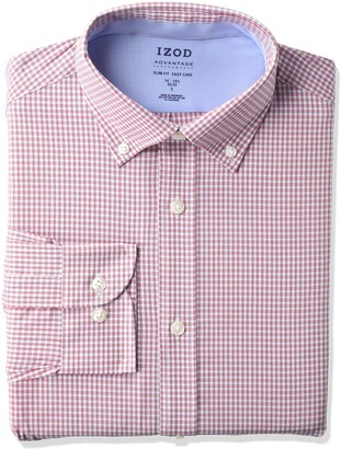 Izod Men's Dress Shirt Slim Fit Stretch FX Cooling Collar Check