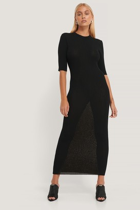 NA-KD 3/4 Sleeve Ribbed Knitted Dress