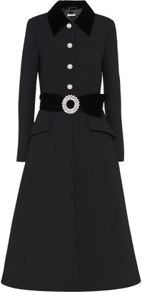 Miu Miu Crystal-Studded Buckle Coat