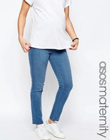 Asos Cigarette Jean With Over The Bump Waistband