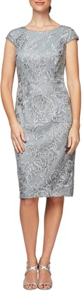Alex Evenings Floral Embroidered Cap Sleeve Sheath Dress