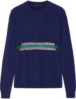 Alexander Wang Sheer-paneled striped wool-knit sweater