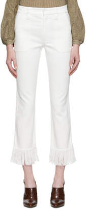 Chloé White Fringed Jeans