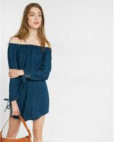 Express denim off the shoulder trapeze dress