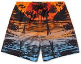 Vilebrequin Moorea Mid-length Printed Swim Shorts - Bright orange