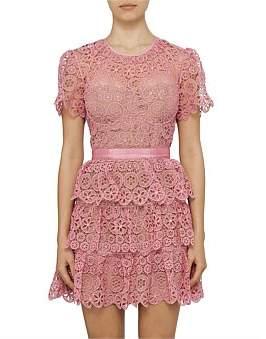 Self-Portrait Fuchsia Tiered Lace Short Sleeve Mini Dress