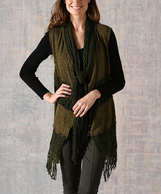Pretty Angel Women's Outerwear Vests GREEN(GN) - Green Fringe-Accent Linen-Blend Vest - Women