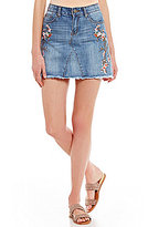 Chelsea & Violet Floral Embroidered Denim Skirt