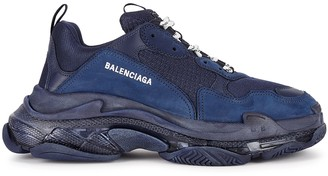 Balenciaga Triple S Navy Mesh And Leather Sneakers