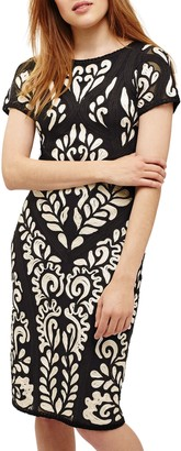 Phase Eight Sanna Tapework Dress, Cream Oyster/Navy