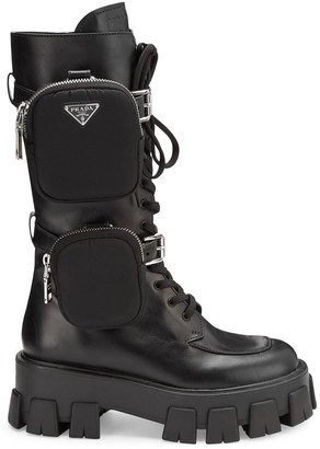 Prada Chunky Leather Tall Combat Boots