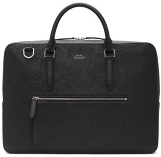 Smythson Black Large Grain Front Zip Briefcase