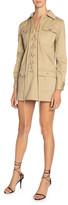 Saint Laurent Long-Sleeve Lace-Up Four-Pocket Mini Cotton Twill Dress