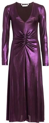 Rotate by Birger Christensen Number 7 Metallic Ruched Midi Dress