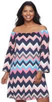 Wrapper Juniors' Plus Size Chevron Off-The-Shoulder Dress