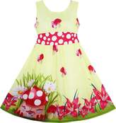 Sunny Fashion HY12 Girls Dress Rose Flower Print Butterfly Embroidery