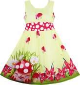 Sunny Fashion HZ37 Girls Dress Mushroom Flower Grass Print Polka Dot Belt Yellow