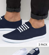 Asos Plimsolls 2 Pack In White And Navy Save